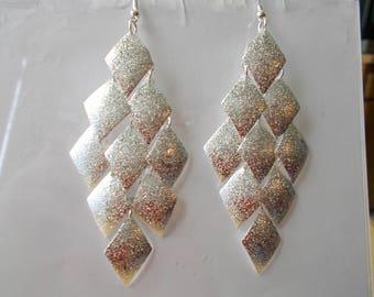 Silver Tone Layered Chandelier Earrings