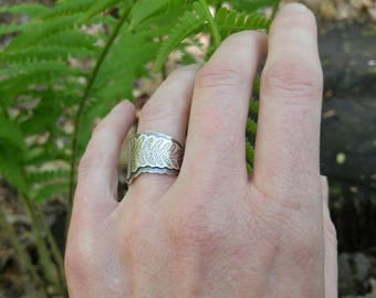 Sterling Silver Layered Fern Ring. Wide, Layered, Darkened Nature Inspired Botanical Size 5.5 Ring. Sturdy Open Wrap Ring Spring, Summer.