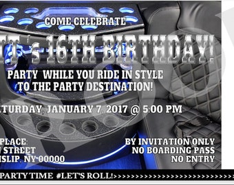 Party Bus Ticket Invitation |  Boarding Pass Invitation | Party Bus Invitation |