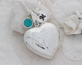 Heart Locket, Sterling Silver Lockets Necklace - Large Heart locket Necklace - Custom charms. Lockets Jewelry- Picture lockets . R- 24