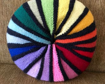 Retro Pillow, Rainbow of Colors, Round, Good Condition
