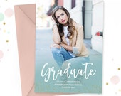 Senior Graduation Invitation Template, Senior Graduation Announcement Template for Photographers, High School Graduation Invitation GD157