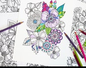 Floral Burst Coloring Pages - Makewells Coloring - Downloadable and Printable Coloring