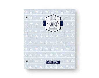 Hello Baby™ Baby Book, Baby Memory  Book, Personalized Baby Book, Nautical, Baby Books, The Sweet Rhino