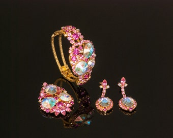 Iconic Juliana (D&E) Book Piece Fuchsia Pink AB Rivoli Rhinestone Set  Brooch, Dangle Earrings, Clamper