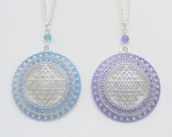 Sri Yantra Necklace, Shree Yantra Necklace, Reiki Necklace, Good Luck Pendant, Abundance Amulet, Meditation Jewelry, Reiki Jewelry Abundance