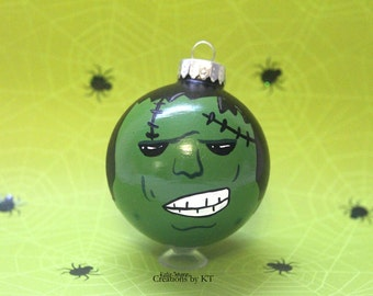 Frankenstein Monster Ornament MADE TO ORDER Halloween Hand Painted Christmas Glass Bauble Classic Monster