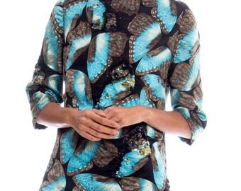 1950s Velvet Sequin Butterfly Print Blouse Size: S