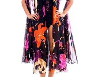 1970s La Mendola Silk Floral Print Convertible Wrap Size: M
