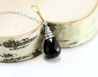 Black Spinel Necklace, Oxidized Sterling Silver Black Gemstone Pendant Wire Wrapped Black Spinel Jewelry