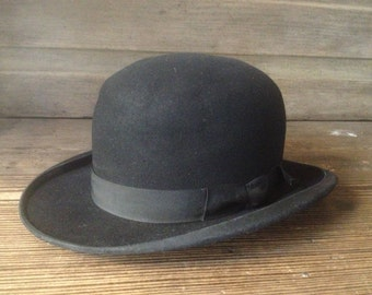 French Black Derby Bowler Hat Felt Grosgrain Ribbon Ladies Small
