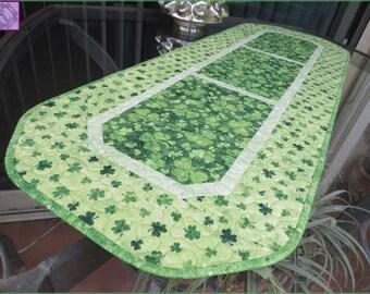 Quilted Irish Shamrock Table Runner Quilt St Patrick 691