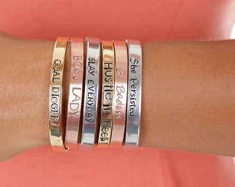 Girl Boss Jewelry | Feminist Mantra Bangle | GOAL DIGGER Cuff  |Boss Lady Custom Hand Stamped Cuffs | Engraved Cuffs Expressions Bracelets