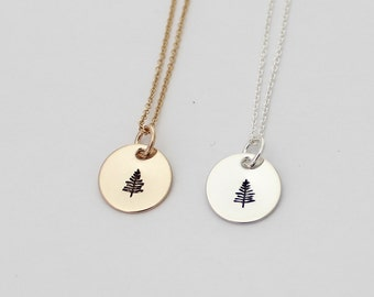 "Evergreen Necklace in Gold or Silver - Dainty 1/2"" Disc Necklace - Hand Stamped Jewelry"