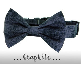 Black Gray Bow Tie Dog Collar; Washed Linen Bow Tie Dog Collar: Graphite