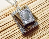 Book Stack Locket Necklace