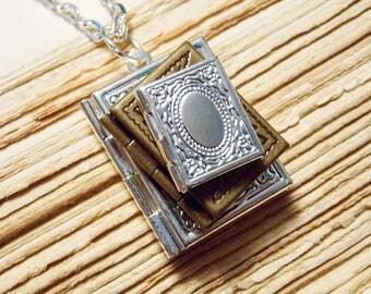 Book Stack Locket Necklace
