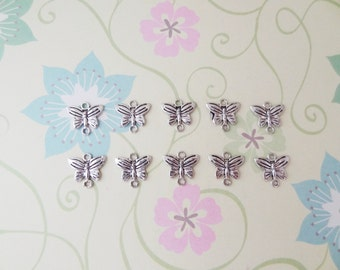 10 pcs - Silver Butterfly Connector Charm