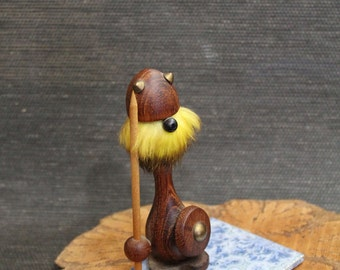 Vintage Danish teak Viking Figurine // Mid Century // Viking // Teak with Fur // Doll