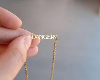 Vintage Danger Word Necklace Choker Kim Craftsmen // Kim Necklace // Danger Necklace // Danger Choker // 70s Jewelry // New Old Stock // C18