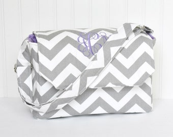 Personalized Chevron DSLR Padded Camera Bag in Purple or Design Your Own with Lens Pockets Nikon Canon EOS or Digital
