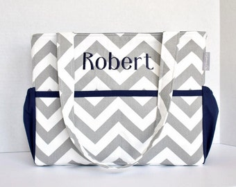 Personalized Chevron Diaper Bag in Gray Chevron and Navy or Pink Choose Your Own 12 Pockets Zipper Closure