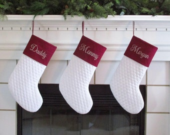 Set of 3 Personalized Christmas Stockings in Quilted Cotton and Burgundy