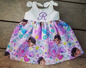 Doc Mcstuffins dress, girls monogrammed dress, birthday dress, personalized, doc mcstuffins outfit, gift, Disney inspired dress, stuffy