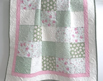 Modern Patchwork Baby Girl Quilt Sweet Baby Rose Collection Shades of Green Pink and White