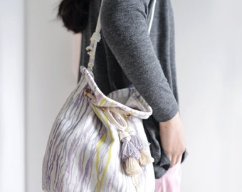 Purple Light tassel bucket bag, purple and mustard water lines pattern shoulder bag, style121P.Ready to ship