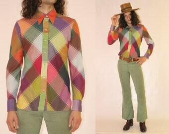 Vtg 70s Wrangler Checkered Multicolor Shirt