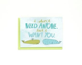 Valentine's Day Card - Whales Illustration - Long Distance Relationship Card - I Love You Card - Anniversary Card - Love Card - I Miss You