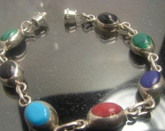"Sterling Silver Multi Stone Bracelet 7"" long, 16 grams, 1211"