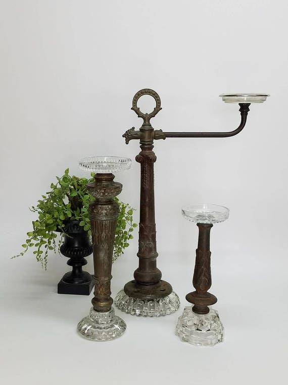 Large Vintage Candleholders Pillar Candlestick Collection Of 3 Exclusive Design