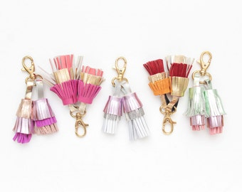 Pink shades leather tassel key chains / key fobs / zipper charms - Choose your color - Ready to Ship