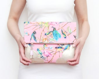 Flower clutch bag. Fold over clutch. Leather handbag. Statement purse. Floral print fabric. Gold natural leather. Pink handbag. /BLOOM 17