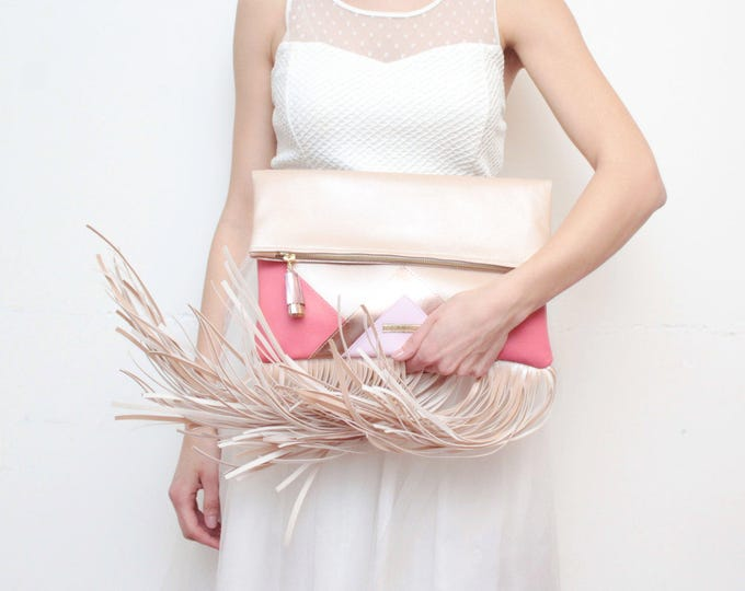 CARRIER 176 / Large leather purse- fringe clutch bag-bohemian purse-oversized leather bag-rosegold metallic bag-coral pink bag-Ready to Ship