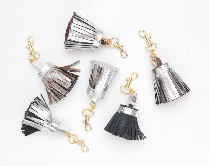 Big leather tassel key charm / key fobs / silver and black metallic shades  - Choose your color - Ready to Ship