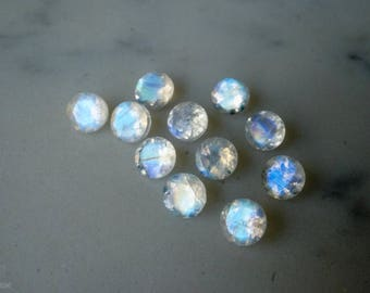 6mm faceted  rainbow moonstone gemstones. TOP QUALITY white gemstone blue flash loose rainbow moonstone gems