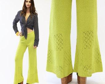 Knit Bell Bottoms pants | Vintage 60s 70s Lime Green crochet KNIT boho disco bell bottom pants S M