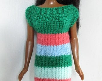 Barbie clothes - striped dress in green, pink and blue