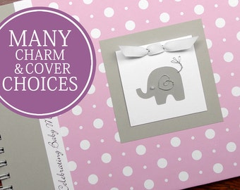 Elephant Baby Shower Guest Book | Personalized Baby Girl Guestbook | White Polka Dot on Pink + Gray with Elephant Charm