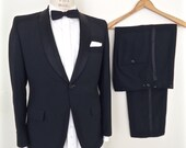 1960s Shawl Lapel Tuxedo / vintage black tux w/ suspender buttons / formal shawl collar dinner suit jacket & trousers / men's XS extra small