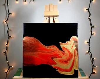 multicolor fluid acrylic painting - 12x12 - OOAK, acrylic painting, fluid painting, abstract, square, red, gold, black, metallic, fluid art