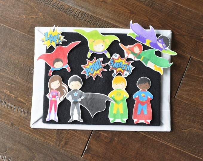 Superhero Felt Story Gift Set - Superhero Doll Toddler Toy, Montessori Pretend Play Toy, Quiet Time Kids Activity, Felt Board Activity Set