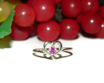 Pink Sapphire Ring, Pinkie Ring, Sterling Silver Ring With Heart, Small Stone Ring, Dainty Ring