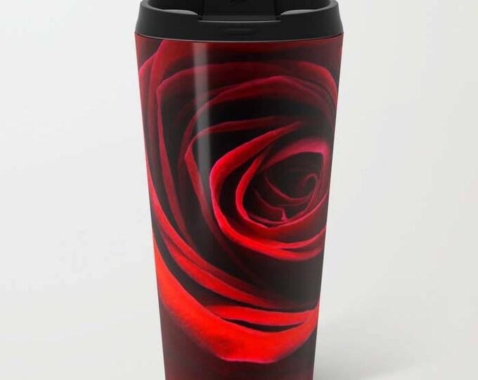 Simply A Red Rose, Travel Mug, Metal Travel Mug, Flower Photography, Beverage Mug, Coffee Mug, Floral Mug