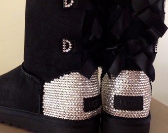 UGG Classic Short Bailey Bow 4 colors by Glass Slippers w/ Swarovski Jewels Custom Winter Bling Boots Dynamite Rhinestone Gift Ladies Shoes