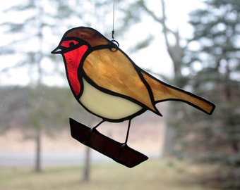 Robin Stained Glass Suncatcher Bird, European Robin, Glass Art