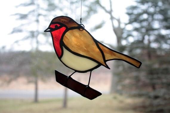 Robin Stained Glass Bird Suncatcher